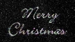 Merry Christmas Glittering Letters With Falling Snowflakes Stock Video Footage