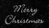 Merry Christmas Glittering Letters With Falling Snowflakes stock footage