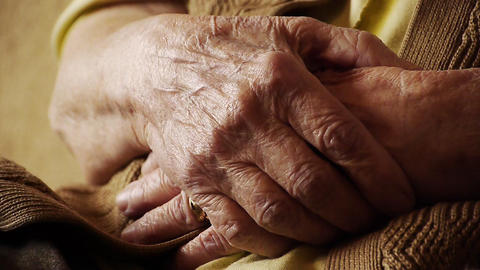 Senior old woman hand wrinkle skin close up Stock Video Footage