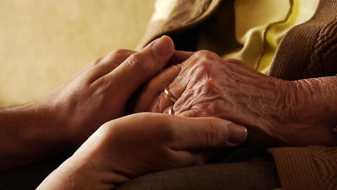 Senior old woman young man hold hand wrinkle skin close up 2 Footage