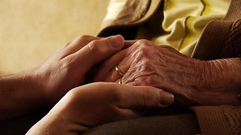 Senior old woman young man hold hand wrinkle skin close up 2 Stock Video Footage