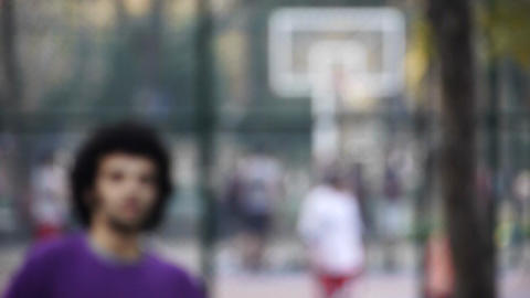 Young man play basketball streetball sport game walk... Stock Video Footage
