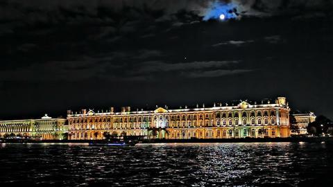 Night Hermitage Museum Stock Video Footage