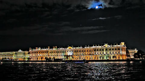Night Hermitage Museum Stock Video Footage