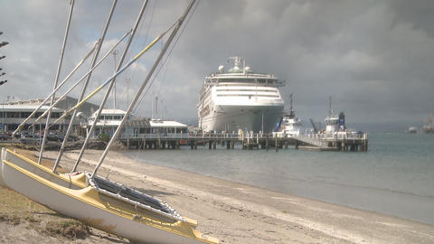 cruise ship at berth Stock Video Footage