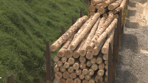 close up of lumber on train wagons Stock Video Footage