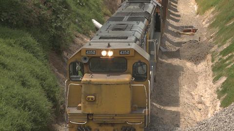 Train hauling logs Stock Video Footage
