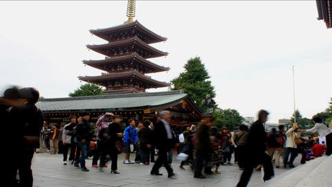 Senso-ji Temple in Tokyo, Japan - Time Lapse Stock Video Footage