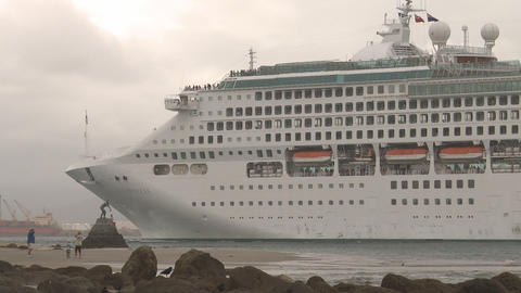 cruise ship enters port Footage