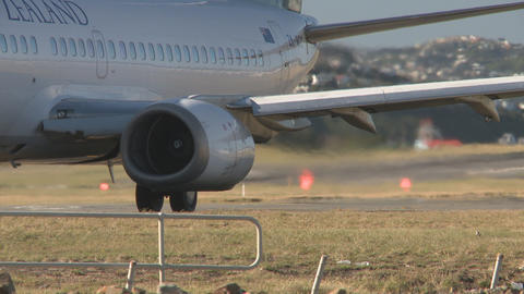 jet engine prepares for departure Stock Video Footage