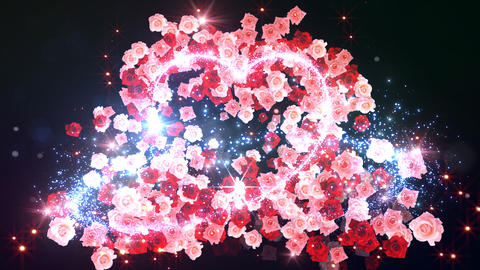 Heart Glitter 2 Rose BF3 Stock Video Footage