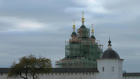 Clouds Over the Restored Monastery Church Stock Video Footage