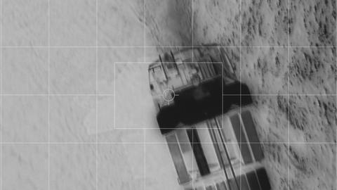 infrared flight over container ship somalia piracy Stock Video Footage