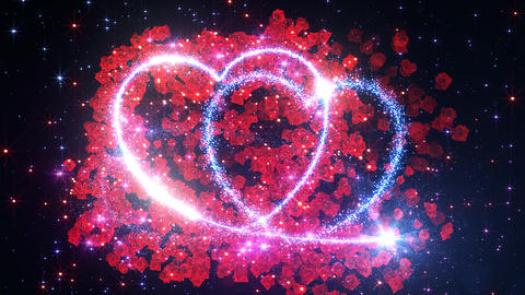 Heart Glitter 2 Rose CF1 Stock Video Footage