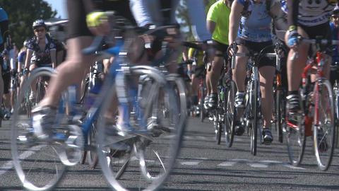 bikes in a fun race Stock Video Footage
