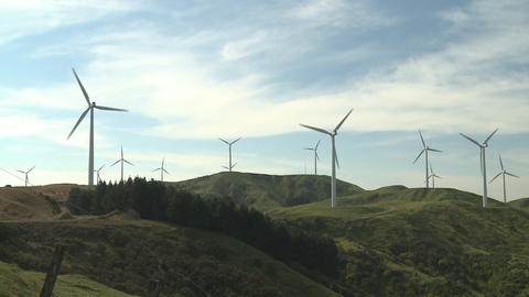 Wind Turbines on hills Footage