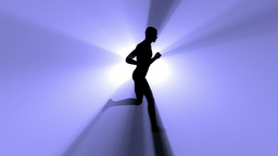 Loopable silhouette of a running man Stock Video Footage