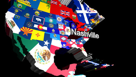 3D USA map zooming into Nashville Stock Video Footage