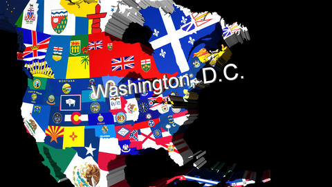 3D Map of USA with State flags zooming into Washington Stock Video Footage