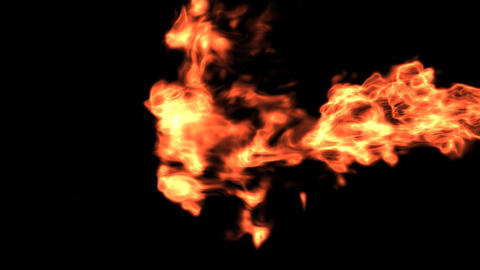 Horizontal Fire with Alpha matte Stock Video Footage