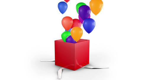 Gift Box Opens and balloons fly Animation