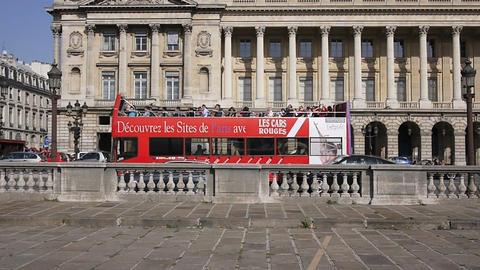 Tourist bus in Paris Stock Video Footage
