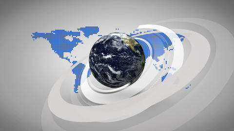 3d earth spinning on blue map background Animation