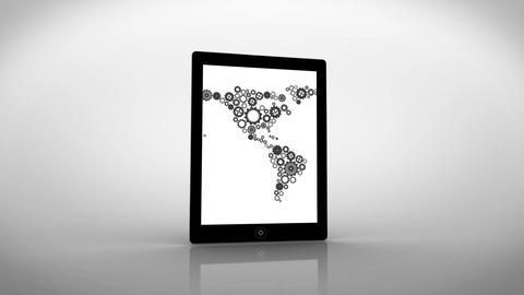 Earth made of cogs and wheels displayed on tablet screen Animation