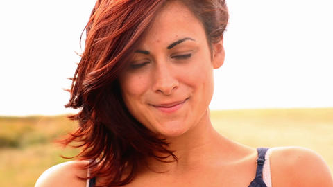 Gorgeous Content Brunette Smiling At Camera stock footage