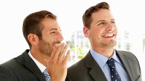 Smiling businessmen chatting together Footage
