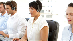 Call center agents working Footage