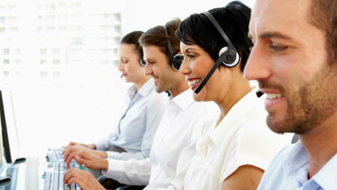 Happy customer service agents working Footage