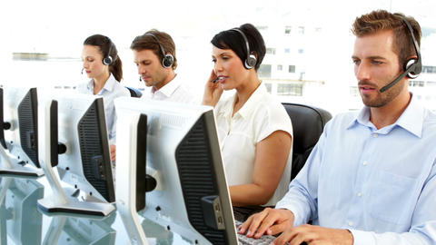 Customer service agents working Footage