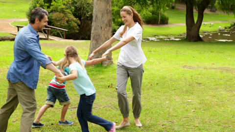 Happy family playing ring a rosie in the park together Footage