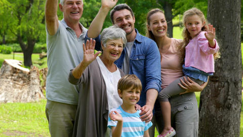 Multi generation family posing and waving at camer Footage