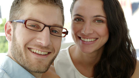 Portrait of attractive coworkers smiling at camera Footage