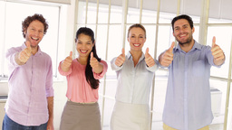 Content Team Of Creative Designers Showing Thumbs  stock footage