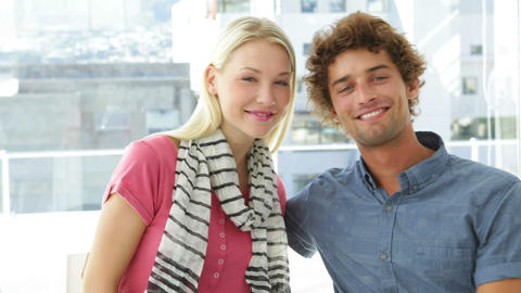 Attractive colleagues posing together Stock Video Footage