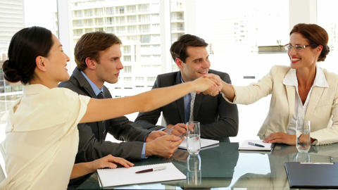 Business people shaking hands at interview Footage