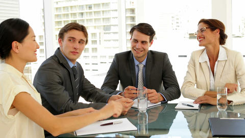 Business people shaking hands at interview Stock Video Footage