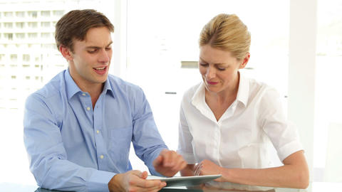 Business partners working with tablet pc Stock Video Footage
