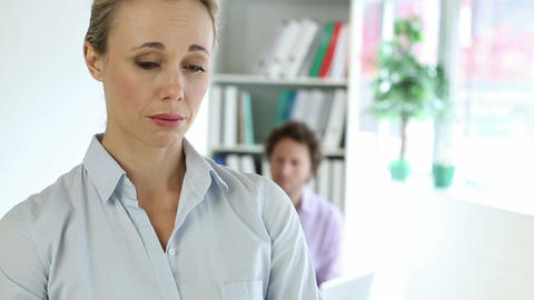 Fired businesswoman holding box of her things Stock Video Footage