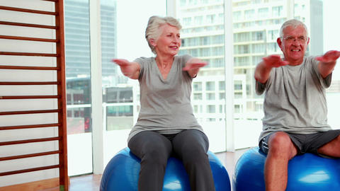 Senior citizens working out Stock Video Footage