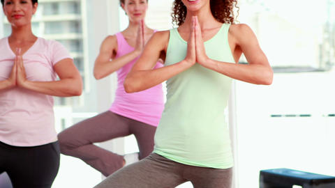 Women at a yoga class Stock Video Footage