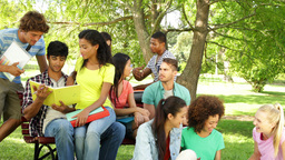 Attractive students reading and chatting together outside... Stock Video Footage