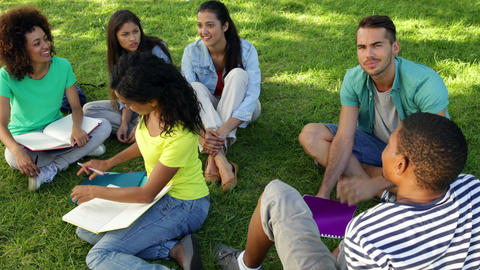 Smiling students chatting together outside on campus Stock Video Footage