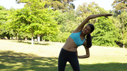 Gorgeous fit brunette stretching in the park Stock Video Footage
