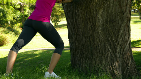 Woman stretching against a tree Stock Video Footage