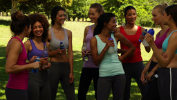 Fitness class taking a break and chatting in the park Stock Video Footage