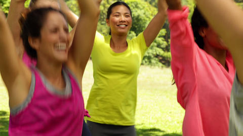 Smiling zumba class dancing in the park Footage